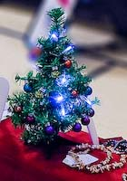 Photo of Christopher's miniature Christmas tree with working ornamental lights.