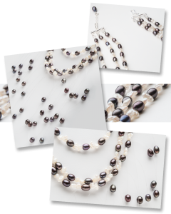 Photo of several close-up views of the completed necklace.