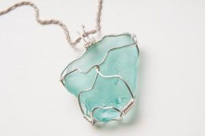 Seaglass in Wire Wrap