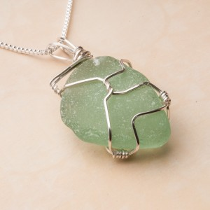 "Large 1"" Sea Glass Wrapped in Metal Wire"